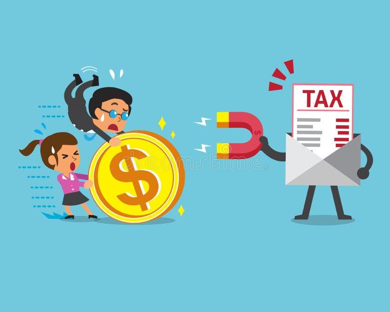 Biznesowy pojęcie podatku list używa magnes przyciąga pieniądze royalty ilustracja
