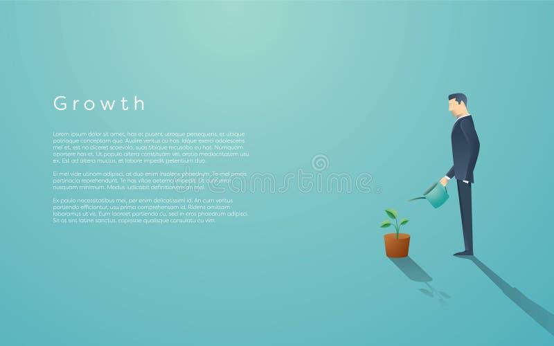 Biznesowy pojęcie przyrost Biznesmen nawadnia małej zielonej rośliny lub drzewa Symbolu sukces, przyszłość ilustracji