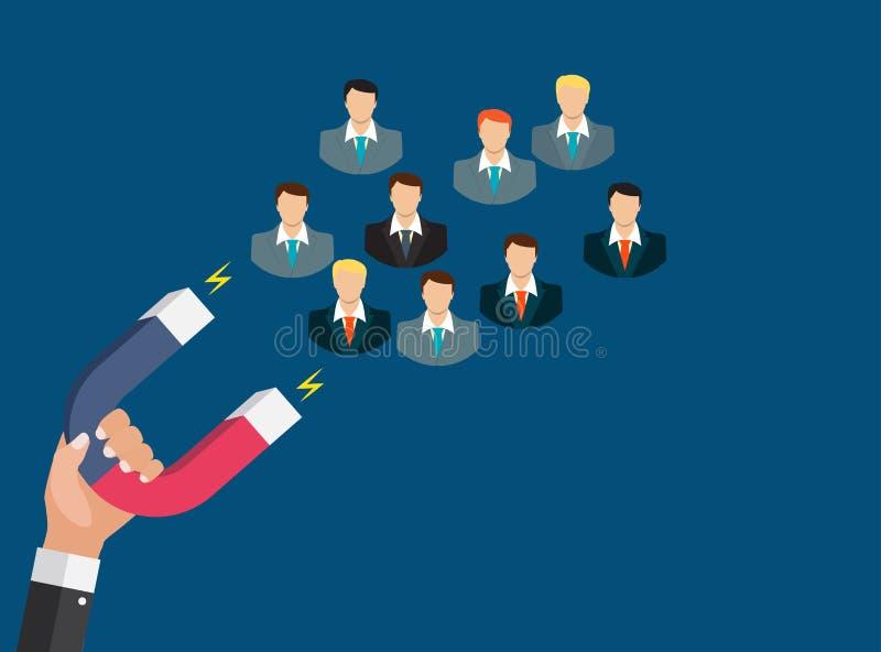 Biznesowy pojęcie ręka chwyta magnes przyciąga klientów royalty ilustracja