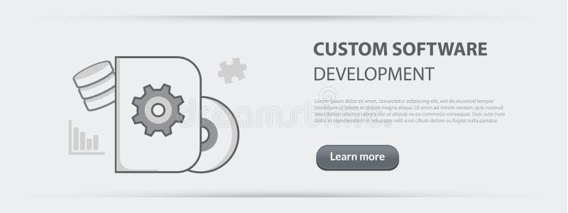 Biznesowy pojęcie sztandar obyczajowego oprogramowania rozwoju firma ilustracja wektor