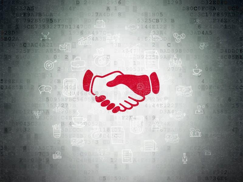 Biznesowy pojęcie: Uścisk dłoni na Cyfrowych dane papieru tle ilustracji
