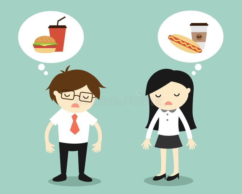 Biznesowy pojęcie, uczucie, biznesmena i biznesowej kobiety męczący i myśleć o jedzeniu royalty ilustracja