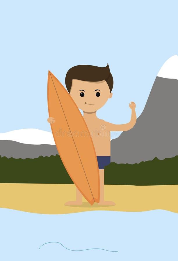 Biznesowy pojęcie w płaskim projekcie Biznesmen na wakacje morzem z kipieli deską wektor ilustracji