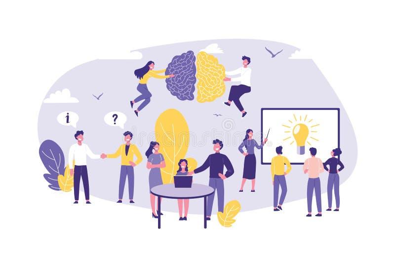 Biznesowy pojęcie wiedza specjalistyczna, rewizja, Konsultować, praca zespołowa i partnerstwo, royalty ilustracja