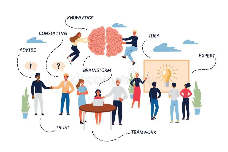 Biznesowy pojęcie wiedza specjalistyczna, rewizja, Konsultować, praca zespołowa i partnerstwo, ilustracji