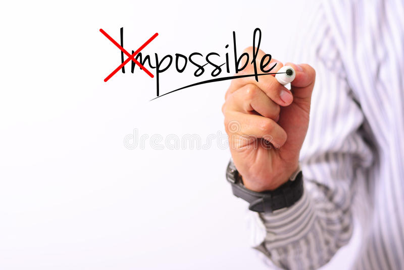 Biznesowy pojęcie wizerunek ręki mienia markier i pisze ewentualnym up odizolowywającym na bielu zdjęcia stock