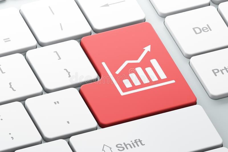 Biznesowy pojęcie: Wzrostowy wykres na komputerowej klawiatury tle ilustracja wektor