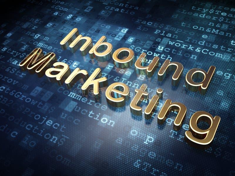 Biznesowy pojęcie: Złoty Przylatujący marketing na cyfrowym tle ilustracja wektor