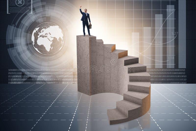 Biznesowy pojęcie z ludźmi biznesu na schody ilustracja wektor
