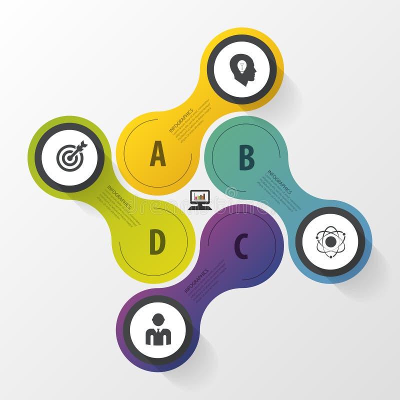 Biznesowy pojęcie z opcjami, częściami, krokami lub procesami 4, Infographic projekta szablon ilustracyjny nowożytny wektor royalty ilustracja