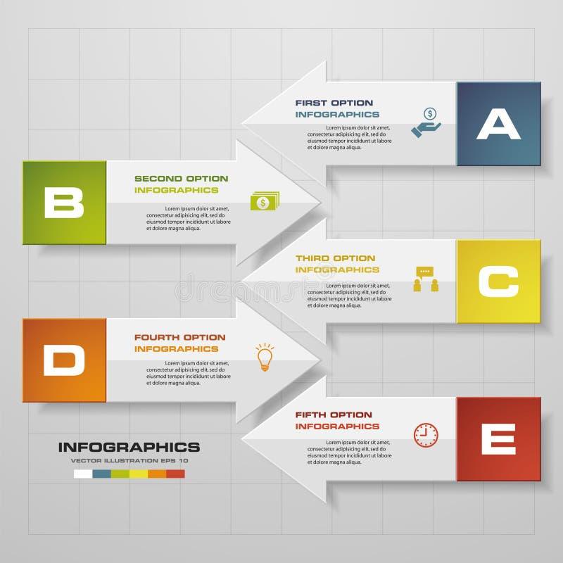 Biznesowy pojęcie z 5 opcjami w strzałkowatym kształcie rozdziela, kroczy, lub procesy Szablon dla diagrama, Wektorowy tło ilustracja wektor