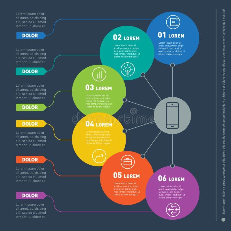 Biznesowy pojęcie z sześć opcjami Sieć szablon ewidencyjna mapa, royalty ilustracja