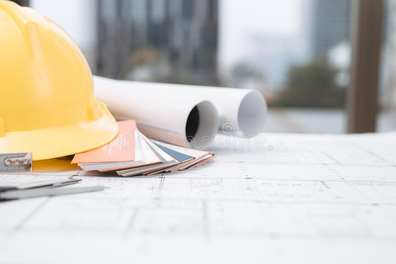 Biznesowy pokój domowy architekta inżynier nikt pracy budowy projekta dom Kosztuje Estimator, koszt Budować dom obraz royalty free