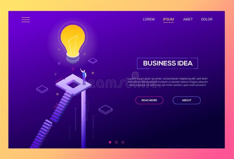 Biznesowy pomysł - nowożytny isometric wektorowy strona internetowa chodnikowiec ilustracja wektor