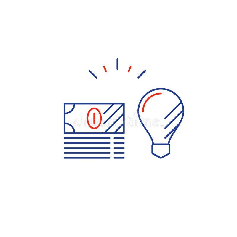 Biznesowy pomysł, pieniężny konsultować, pieniądze strategia inwestycyjna, kreskowa ikona ilustracja wektor