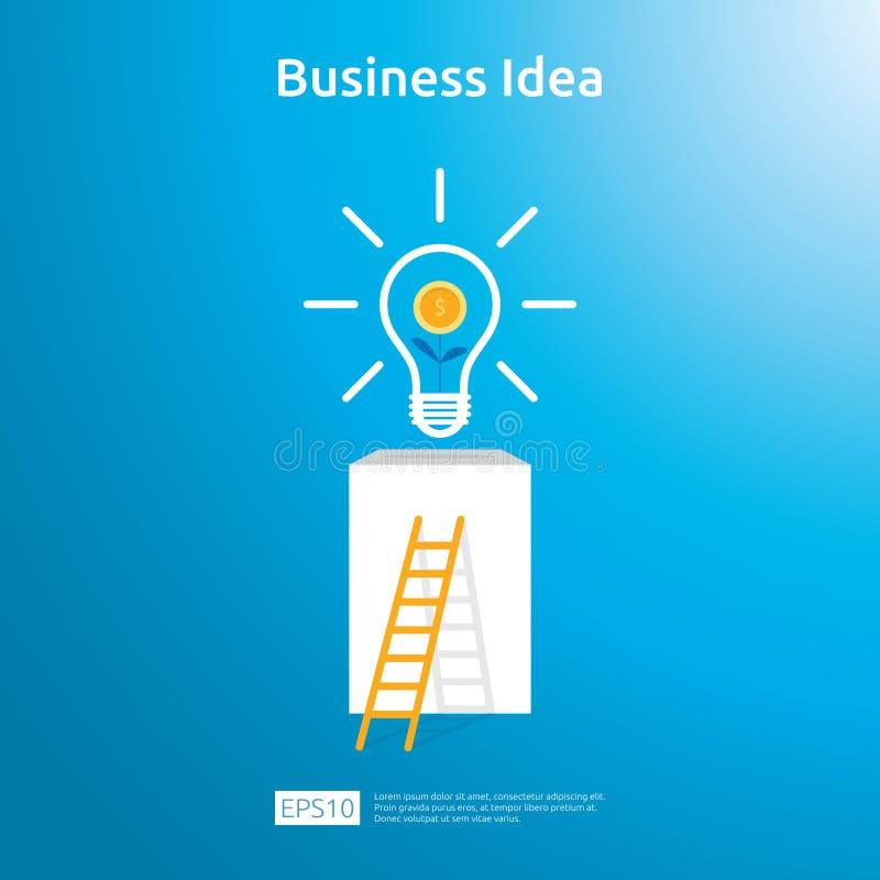 biznesowy pomysł z żarówki i dolara dorośnięcia rośliny menniczym elementem protestuje Pieniężny innowacji rozwiązania pojęcie lu ilustracji