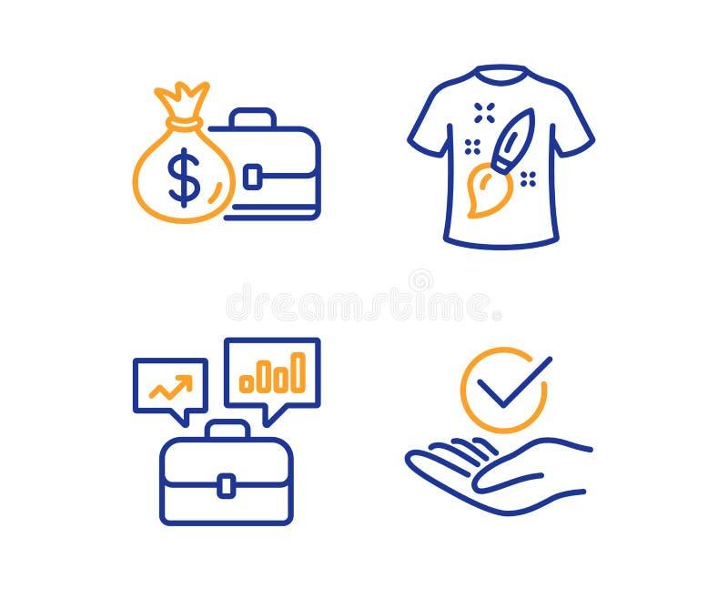 Biznesowy portfolio, pensja i koszulka, projektujemy ikony ustawia? zatwierdzony znak wektor ilustracja wektor