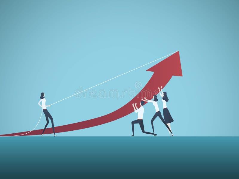 Biznesowy praca zespołowa wektoru pojęcie Ludzie biznesu pracuje wpólnie dokonywać sukces Symbol współpraca, wyzwanie royalty ilustracja