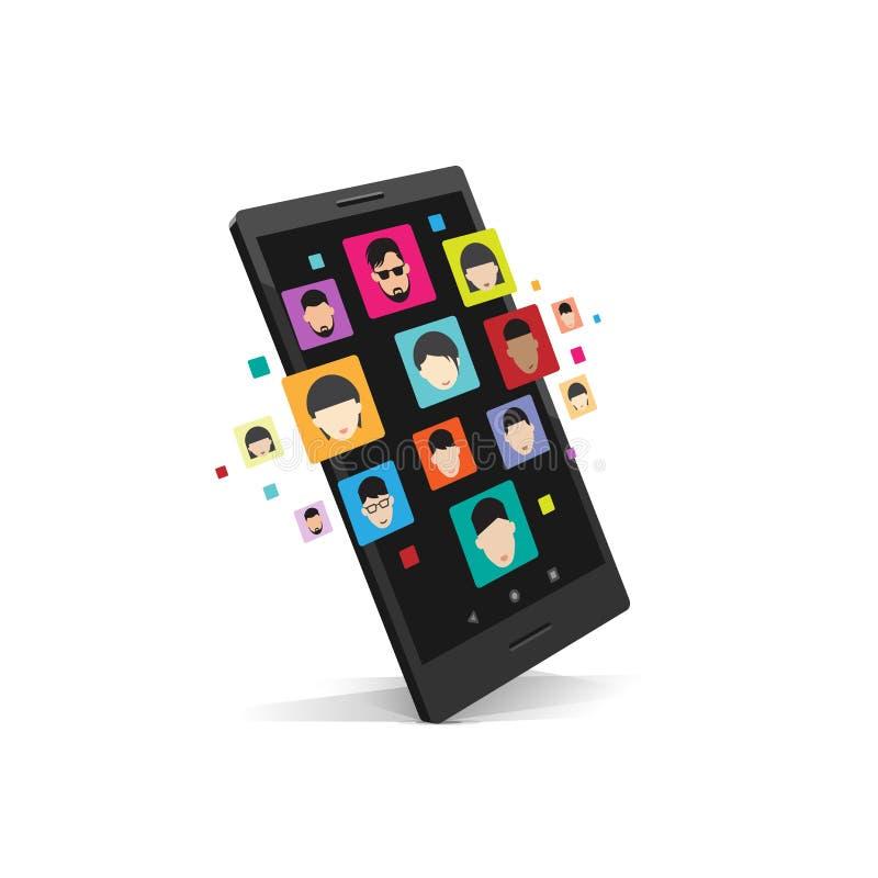 Biznesowy pracy zespołowej pojęcie, smartphone ogólnospołeczny medialny związek royalty ilustracja