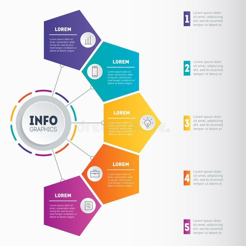 Biznesowy prezentaci pojęcie z 5 opcjami Sieć szablon a ilustracji