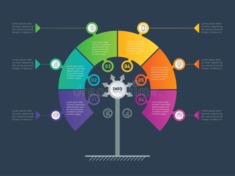 Biznesowy prezentaci pojęcie z 6 opcjami Sieć szablon se royalty ilustracja