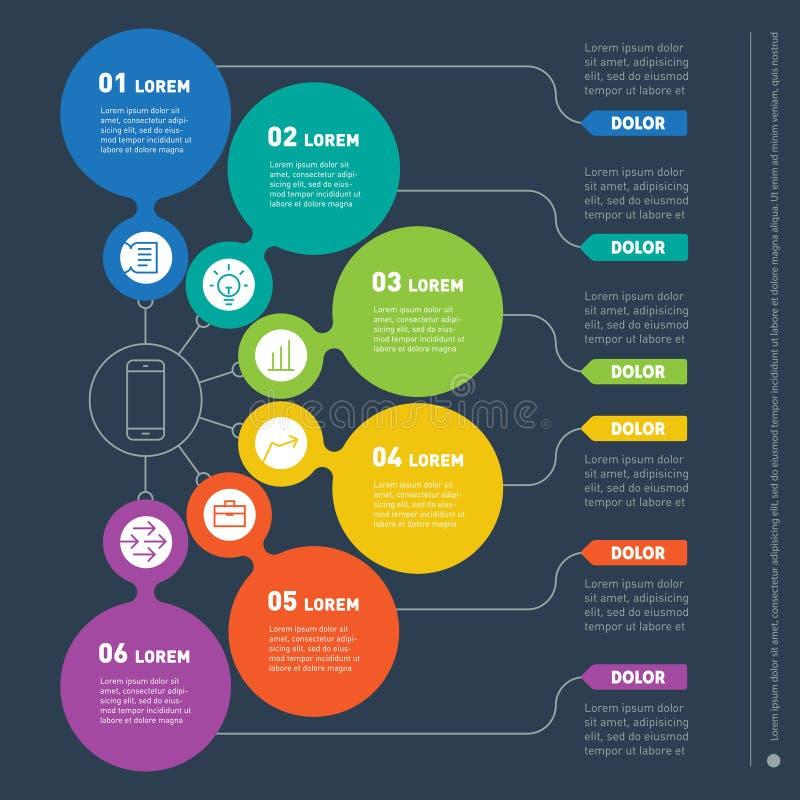 Biznesowy prezentaci pojęcie z sześć opcjami Sieć szablon royalty ilustracja