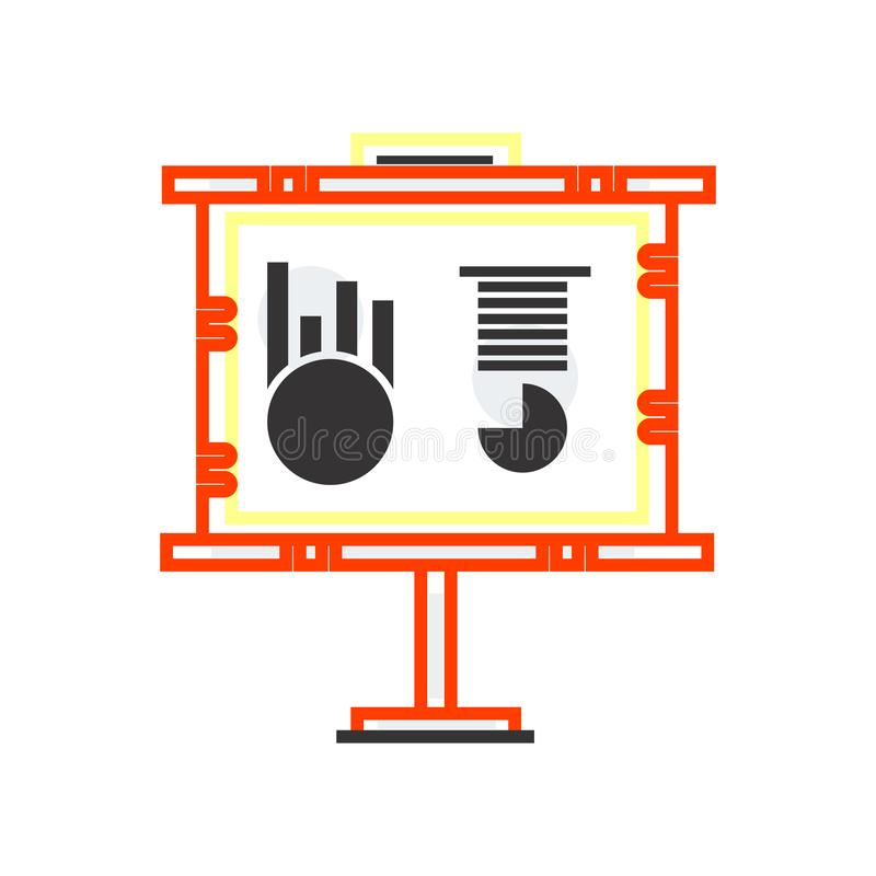 Biznesowy prezentacji ikony wektoru znak i symbol odizolowywający na białym tle, Biznesowy prezentacja logo pojęcie royalty ilustracja