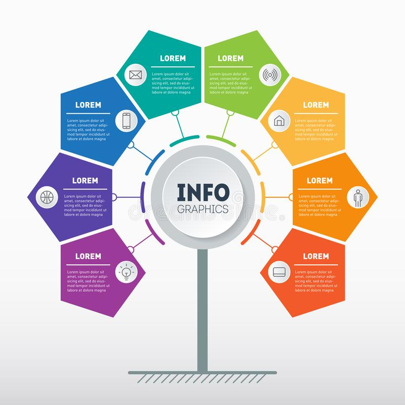 Biznesowy prezentacji lub informacji grafika pojęcie z 8 opcjami Sieć szablon drzewo, ewidencyjna mapa lub diagram, Wektorowy inf ilustracji