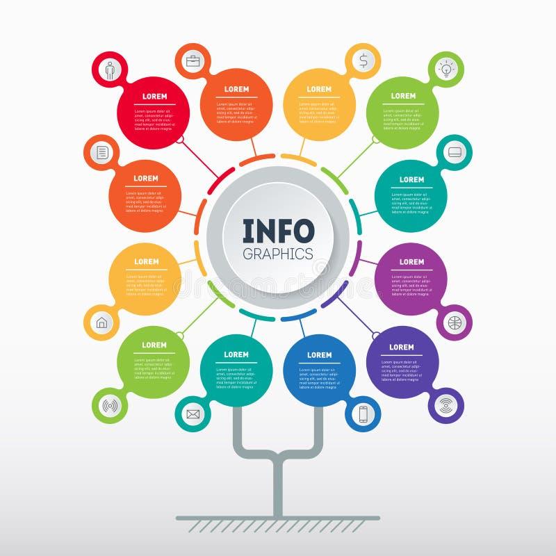 Biznesowy prezentacji pojęcie z 12 opcjami Sieć szablon drzewo, ewidencyjna mapa lub diagram z dwanaście procesami, wektor royalty ilustracja