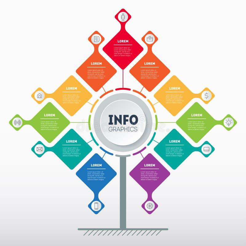 Biznesowy prezentacji poj?cie z 11 opcj? Szablon drzewo, ewidencyjna mapa lub diagram z jedena?cie procesem, Wektorowy infographi royalty ilustracja