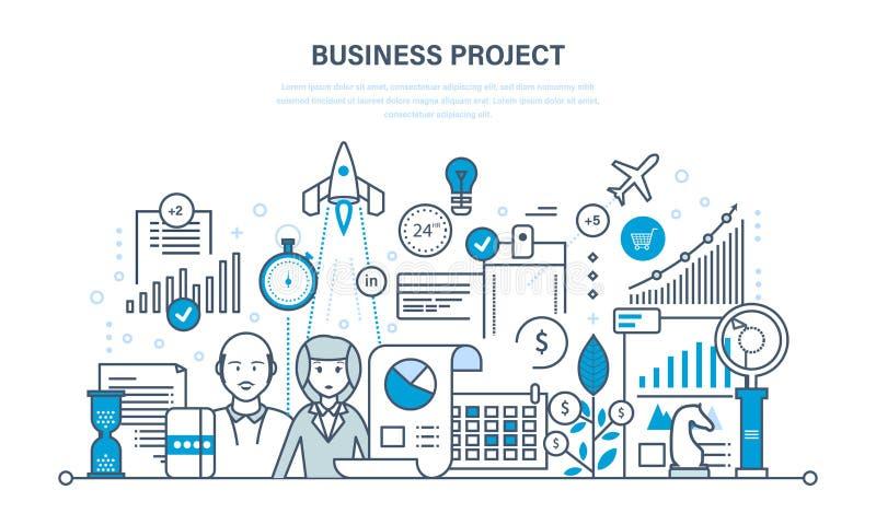 Biznesowy projekt, kontrola, czasu zarządzanie, marketing, statystyki, analiza, dane kontrola royalty ilustracja