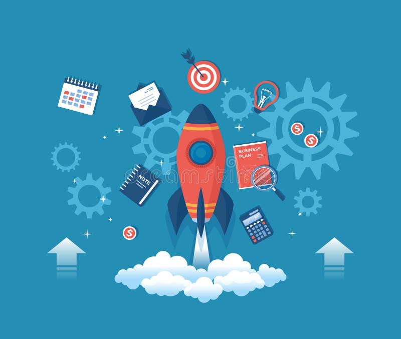 Biznesowy projekta rozpoczęcie, pieniężny planowanie, pomysłu proces rozwoju, strategia, zarządzanie, realizacja i sukces, rakiet royalty ilustracja
