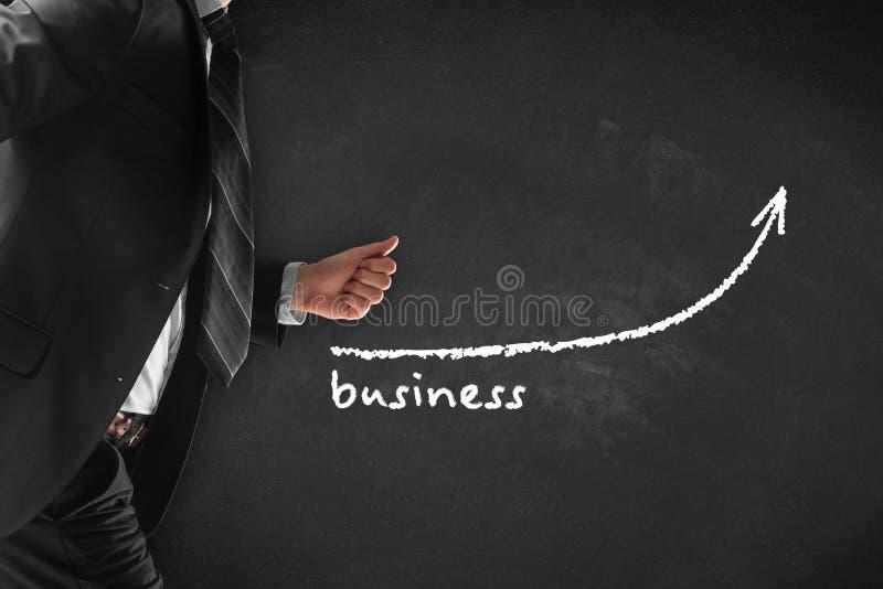 Biznesowy przyrost Ręka wskazuje biznesową mapę zdjęcie stock