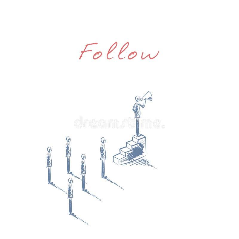 Biznesowy przywódctwo pojęcie w ręka rysującym nakreślenie wektorze z biznesmena lidera pozycją na górze schodków z megafonem royalty ilustracja