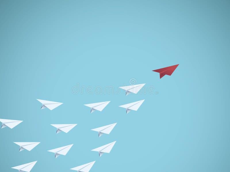 Biznesowy przywódctwo wektorowy pojęcie z czerwień papieru samolotu liderem Symbol zarządzanie, praca zespołowa, biznesowy sukces royalty ilustracja