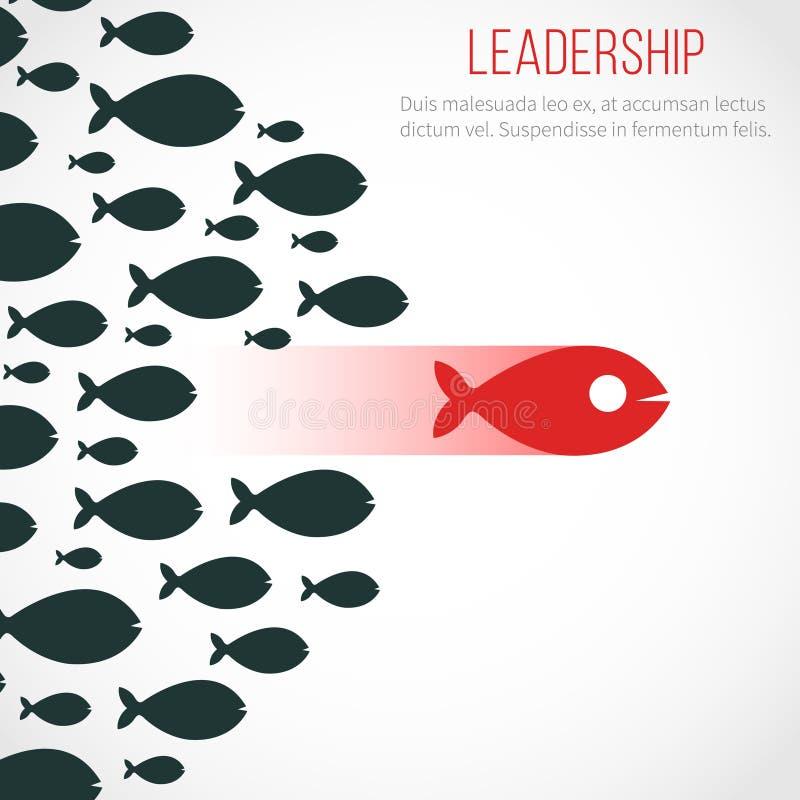 Biznesowy przywódctwo wektorowy pojęcie z czerwoną lider rybią i wygraną drużyną royalty ilustracja