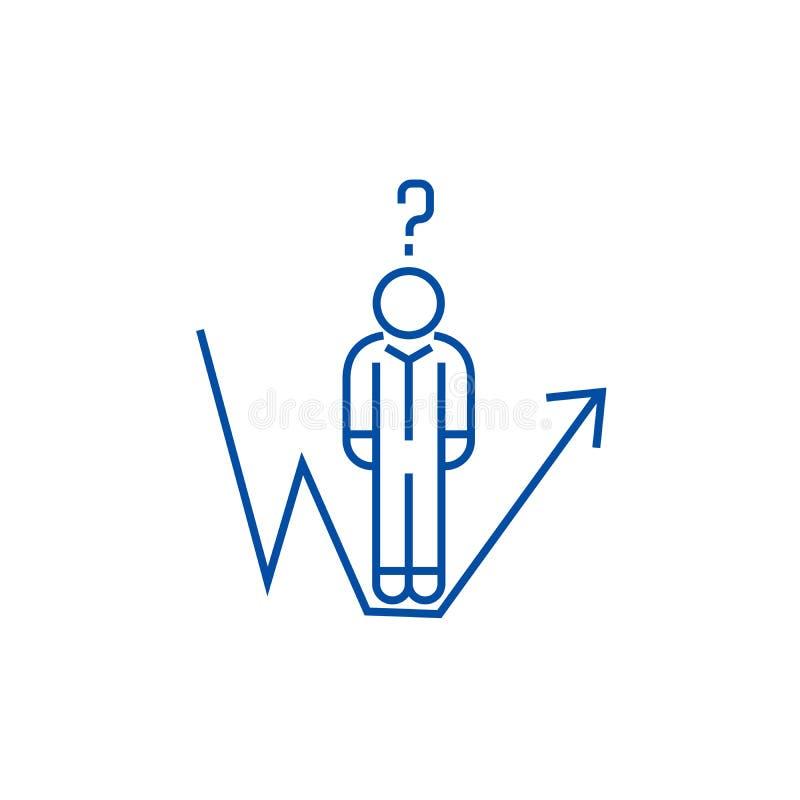 Biznesowy pytanie, biznesmena przyrosta linii linii ikony pojęcie Biznesowy pytanie, biznesmena przyrosta linii mieszkania wektor royalty ilustracja