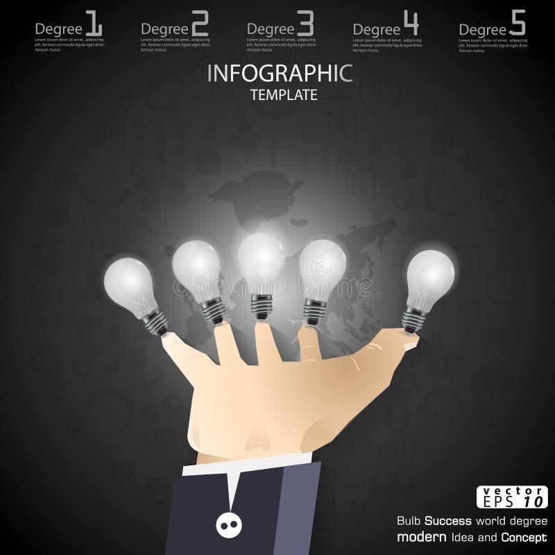 Biznesowy ręka chwyta żarówki sukces Brainstorming nowożytnego pomysłu i pojęcia Infographic Wektorowego ilustracyjnego szablon z royalty ilustracja