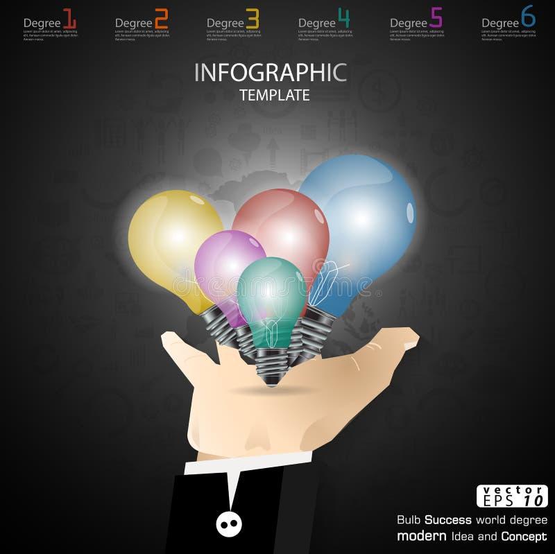 Biznesowy ręka chwyta żarówki sukces Brainstorming nowożytnego pomysłu i pojęcia Infographic Wektorowego ilustracyjnego szablon z ilustracji