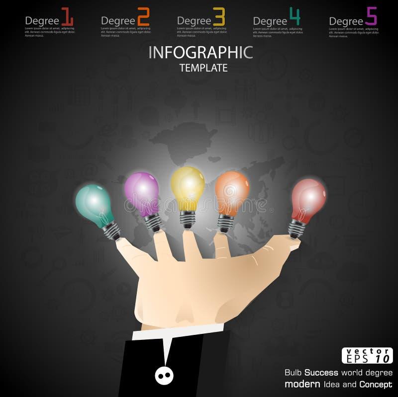 Biznesowy ręka chwyta żarówki sukces Brainstorming nowożytnego pomysłu i pojęcia Infographic Wektorowego ilustracyjnego szablon z ilustracja wektor