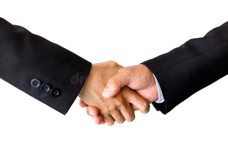 Biznesowy ręki chwianie pokazuje pomyślnego współpracę odizolowywającego zdjęcia royalty free