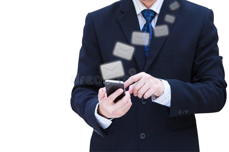 biznesowy ręki chwyta telefon komórkowy ekranu dotyk obrazy stock