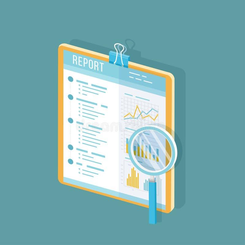 Biznesowy raport na schowku, papierowy dokument z powiększać - szkło Odosobniona ikona z d?ugim cieniem Ksi?gowo??, analiza royalty ilustracja