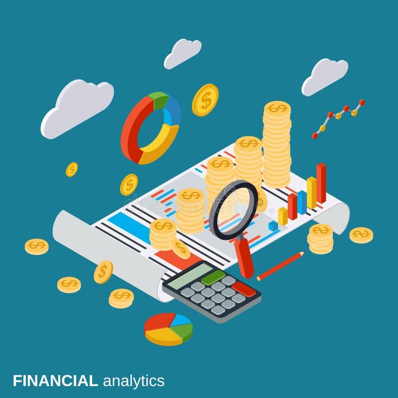 Biznesowy raport, pieniężny diagram, analityka wektoru pojęcie ilustracja wektor