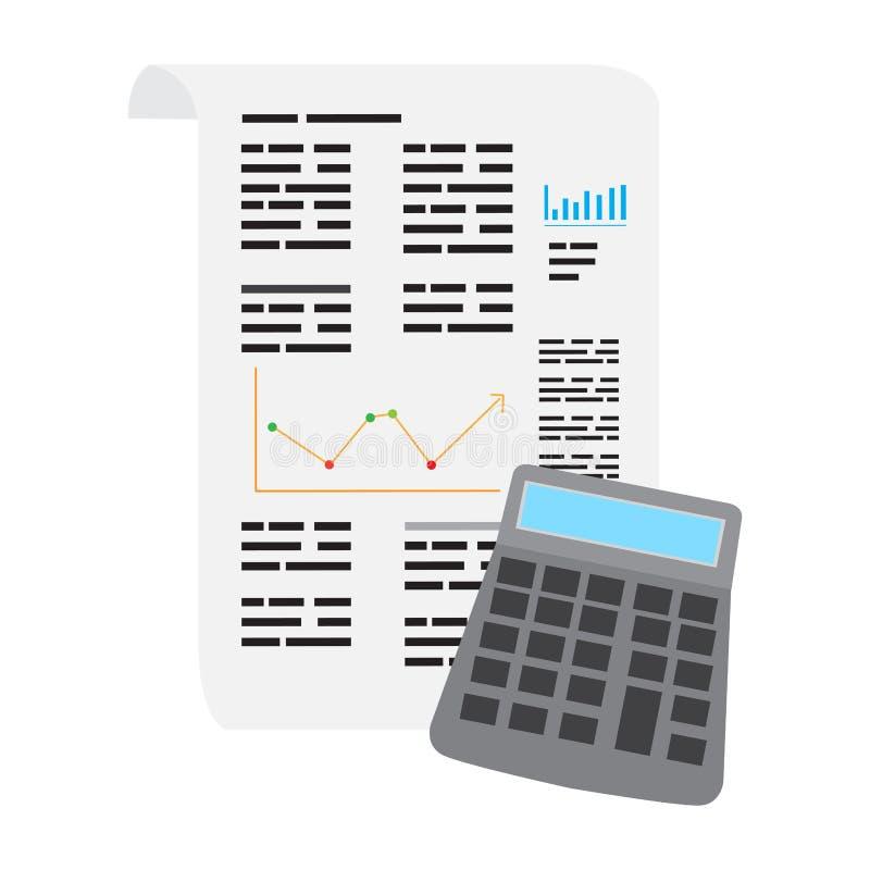 Biznesowy raport z kalkulatorem ilustracja wektor