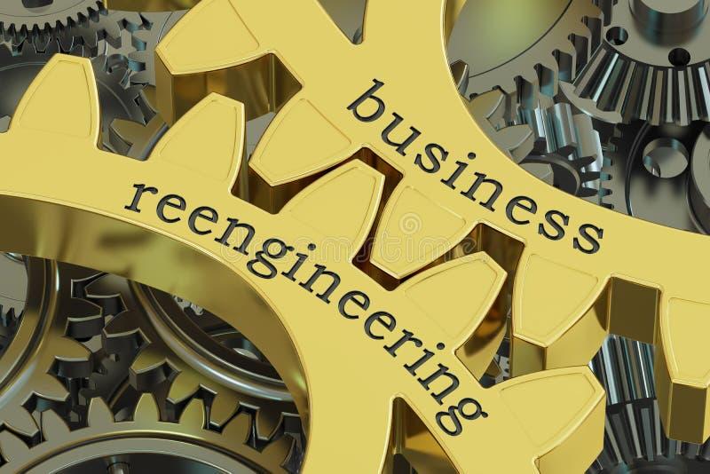 Biznesowy Reengineering pojęcie na przekładniach, 3D rendering ilustracja wektor