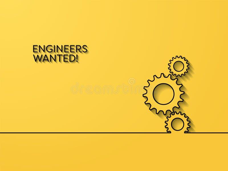 Biznesowy rekrutacyjny plakatowy wektorowy pojęcie z inżynieria symbolem Symbol kariery sposobność dla inżynierów, wewnątrz royalty ilustracja