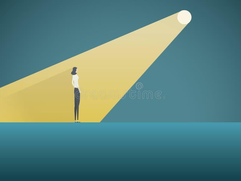 Biznesowy rekrutacyjny wektorowy pojęcie Bizneswoman w świetle reflektorów Symbol zatrudniać, headhunting, szuka dla talentu ilustracji