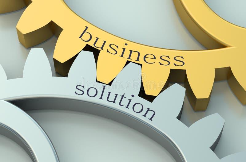 Biznesowy rozwiązania pojęcie na gearwheels ilustracja wektor