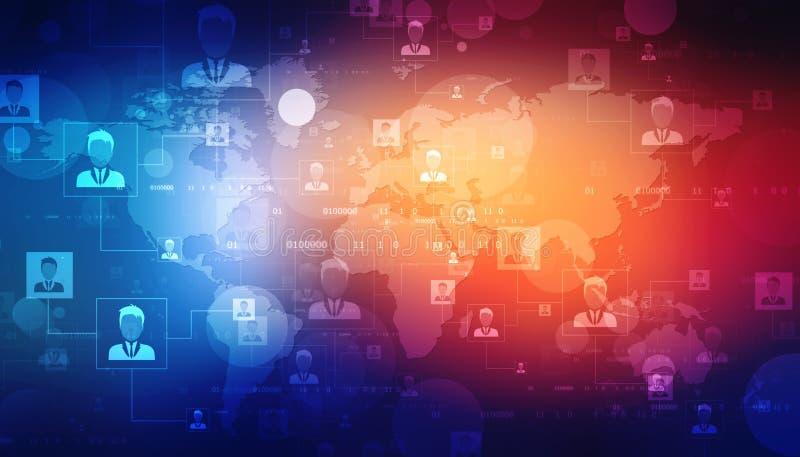 Biznesowy sieci pojęcia tło, Biznesowy mężczyzna łączył each inny, technologii tło ilustracja wektor